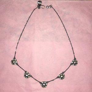 Jewelry - Gunmetal and rhinestone necklace
